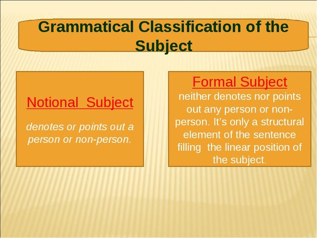 Notional Subject denotes or points out a person or non-person. Formal Subject...
