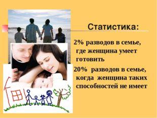Статистика: 2% разводов в семье, где женщина умеет готовить 20% разводов в се