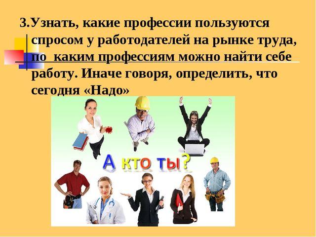 3.Узнать, какие профессии пользуются спросом у работодателей на рынке труда,...
