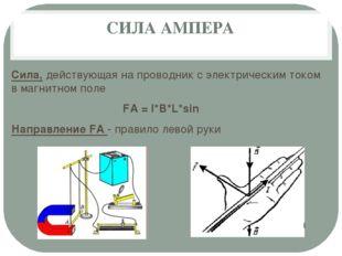 СИЛА АМПЕРА Сила, действующая на проводник с электрическим током в магнитном