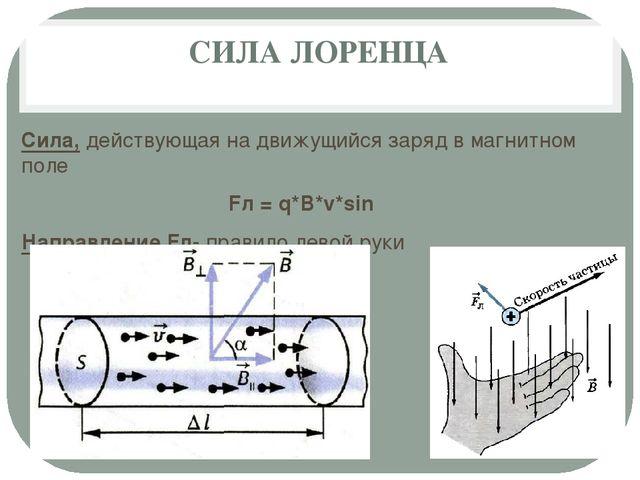 СИЛА ЛОРЕНЦА Сила, действующая на движущийся заряд в магнитном поле Fл = q*B*...