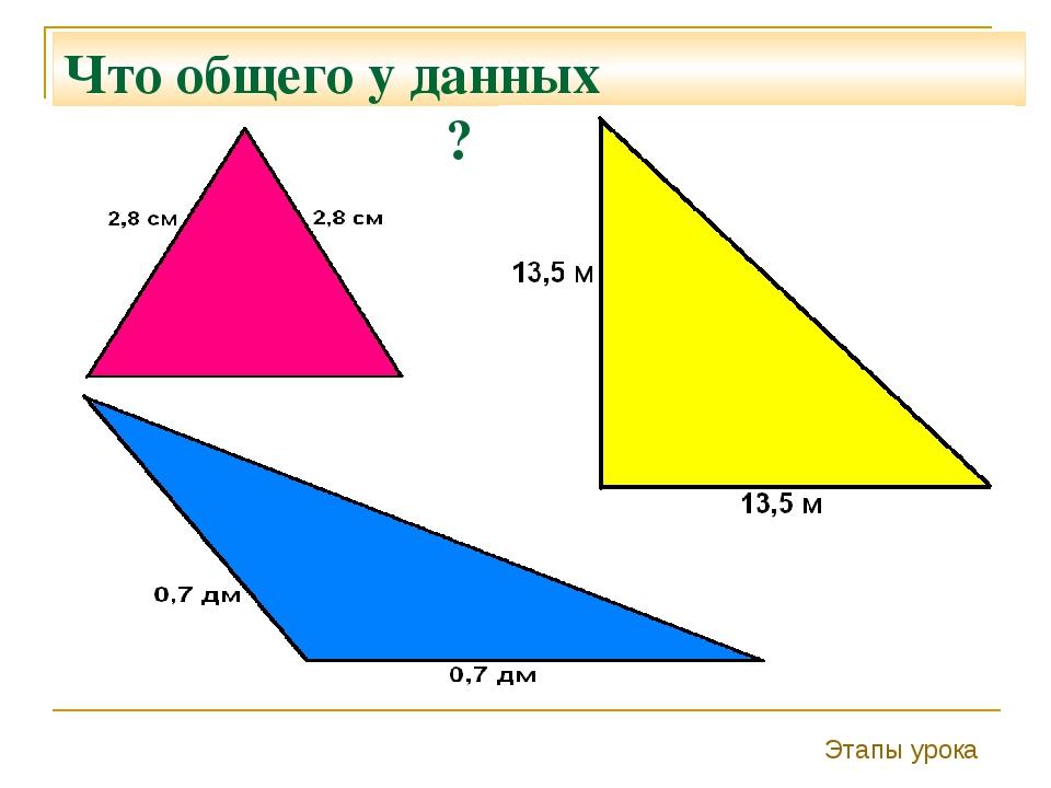 Что общего у данных треугольников ? Этапы урока