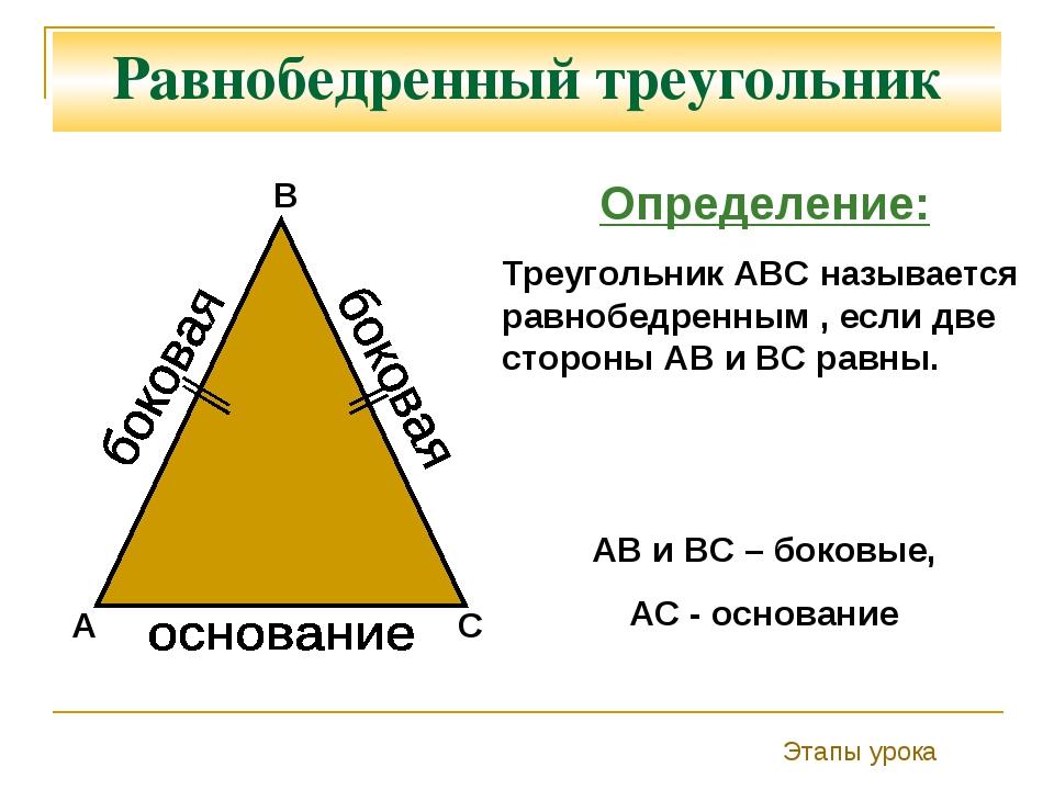 Равнобедренный треугольник С А В Определение: Треугольник АВС называется равн...
