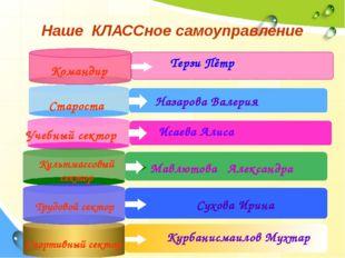 Наше КЛАССное самоуправление Командир Староста Назарова Валерия Учебный секто