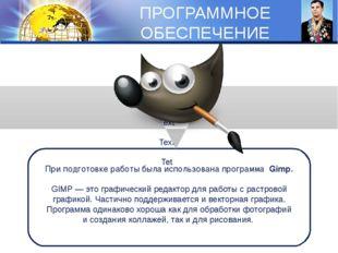 ПРОГРАММНОЕ ОБЕСПЕЧЕНИЕ Text Text Tet При подготовке работы была использована
