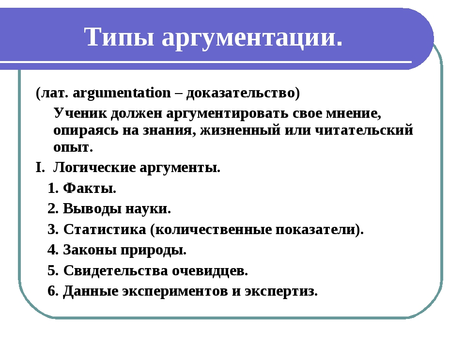 Типы аргументации. (лат. argumentation – доказательство) Ученик должен аргум...