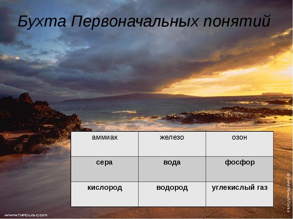 Бухта Первоначальных понятий аммиак железо озон сера вода фосфор кислород вод...