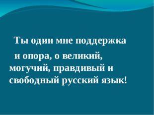 Ты один мне поддержка и опора, о великий, могучий, правдивый и свободный рус