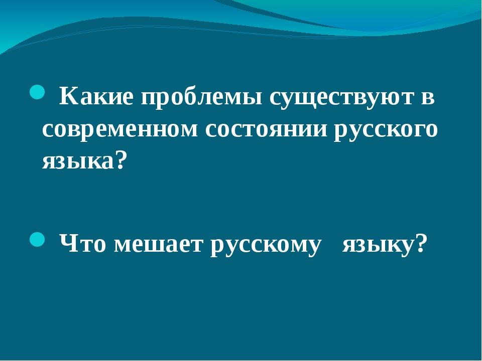 Какие проблемы существуют в современном состоянии русского языка? Что мешает...
