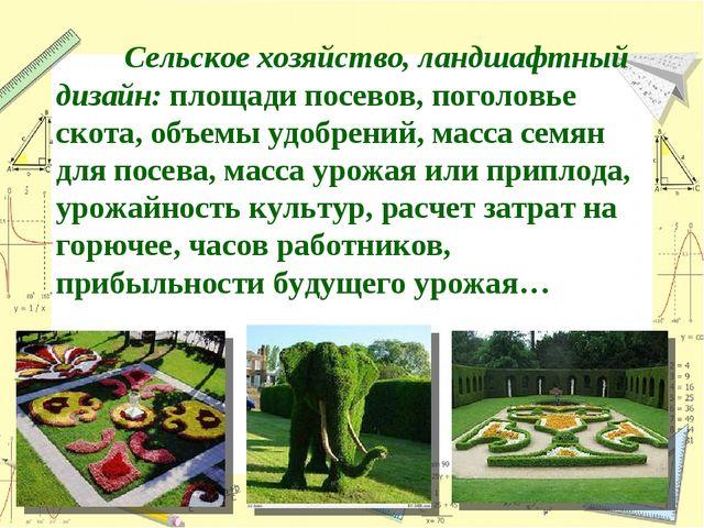 Сельское хозяйство, ландшафтный дизайн: площади посевов, поголовье скота, о...
