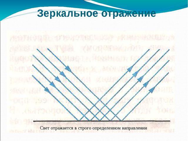 Зеркальное отражение Свет отражается в строго определенном направлении