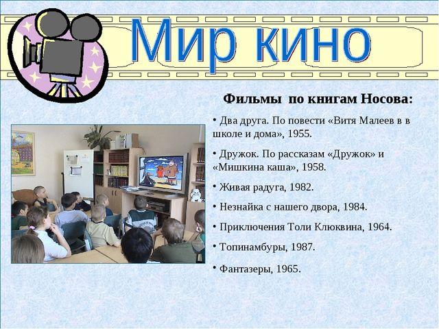 Фильмы по книгам Носова: Два друга. По повести «Витя Малеев в в школе и дома»...