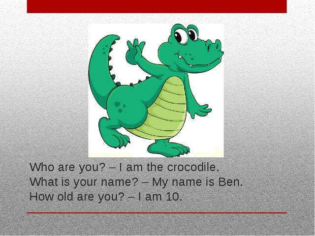 Who are you? – I am the crocodile. What is your name? – My name is Ben. How o...