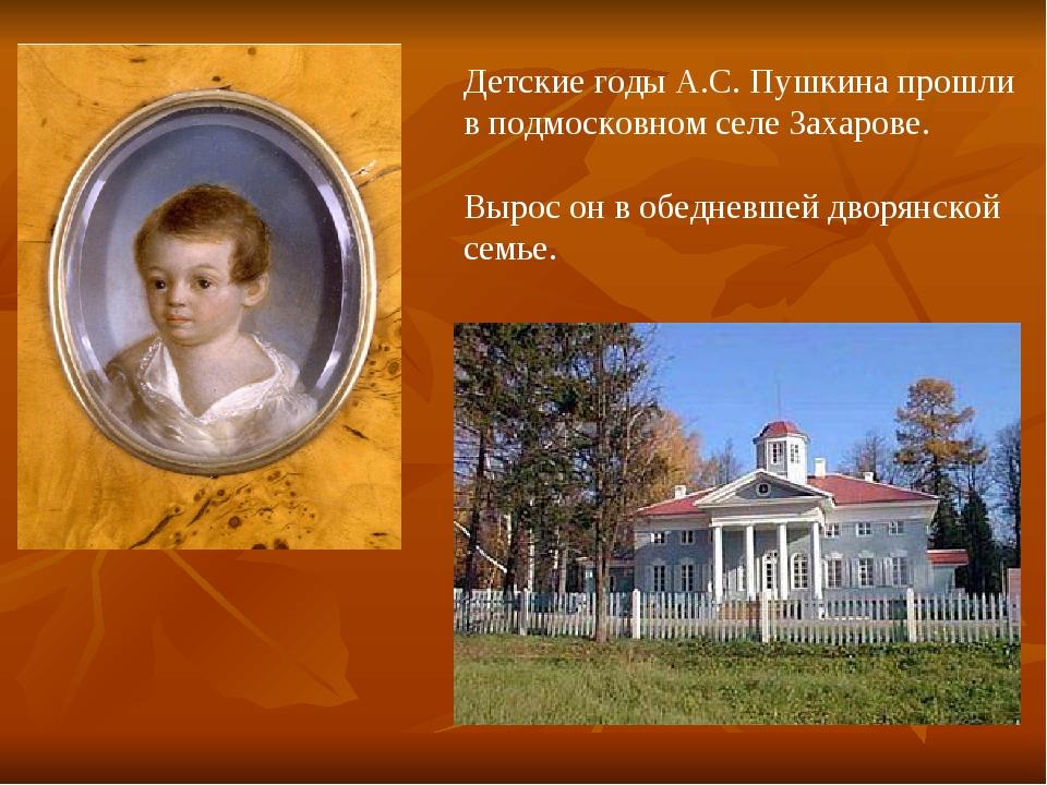 Детские годы А.С. Пушкина прошли в подмосковном селе Захарове. Вырос он в обе...