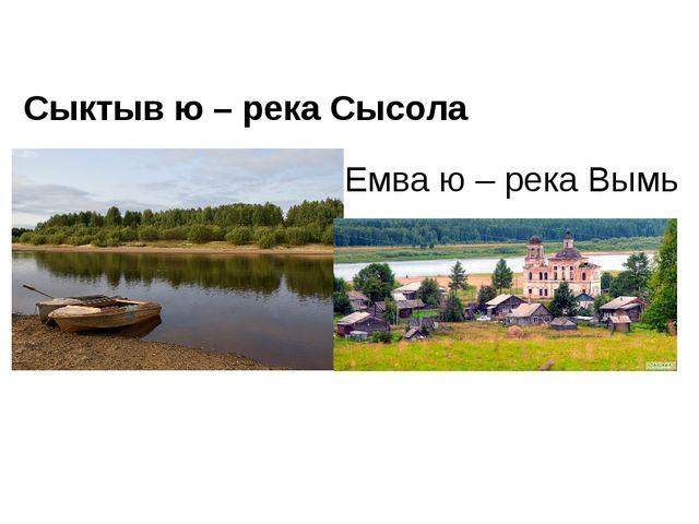 Емва ю – река Вымь Сыктыв ю – река Сысола
