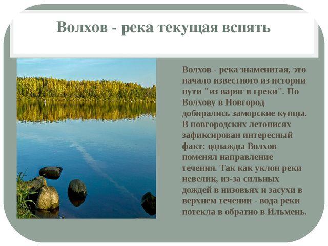 Волхов - река текущая вспять Волхов - река знаменитая, это начало известного...