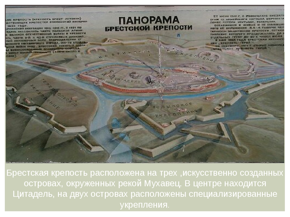 Брестская крепость расположена на трех ,искусственно созданных островах, окру...