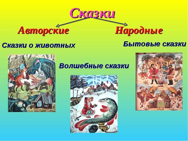 Сказки  Сказки о животных Бытовые сказки Волшебные сказки Авторские Народные