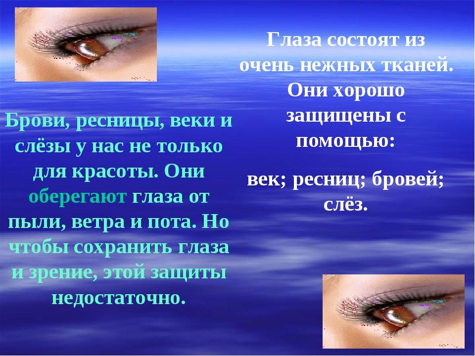 Глаза состоят из очень нежных тканей. Они хорошо защищены с помощью: век; рес...