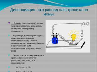 Диссоциация- это распад электролита на ионы. Вывод (по Аррениусу): чтобы ламп