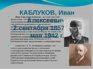 КАБЛУКОВ, Иван Алексеевич 2 сентября 1857 г. – 5 мая 1942 г. Иван Алексеевич