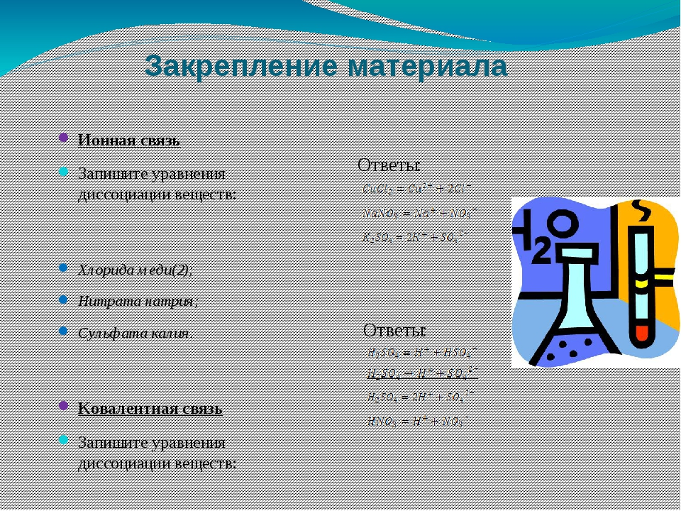 Закрепление материала Ионная связь Запишите уравнения диссоциации веществ: Хл...