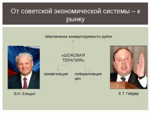 От советской экономической системы – к рынку «ШОКОВАЯ ТЕРАПИЯ» либерализация