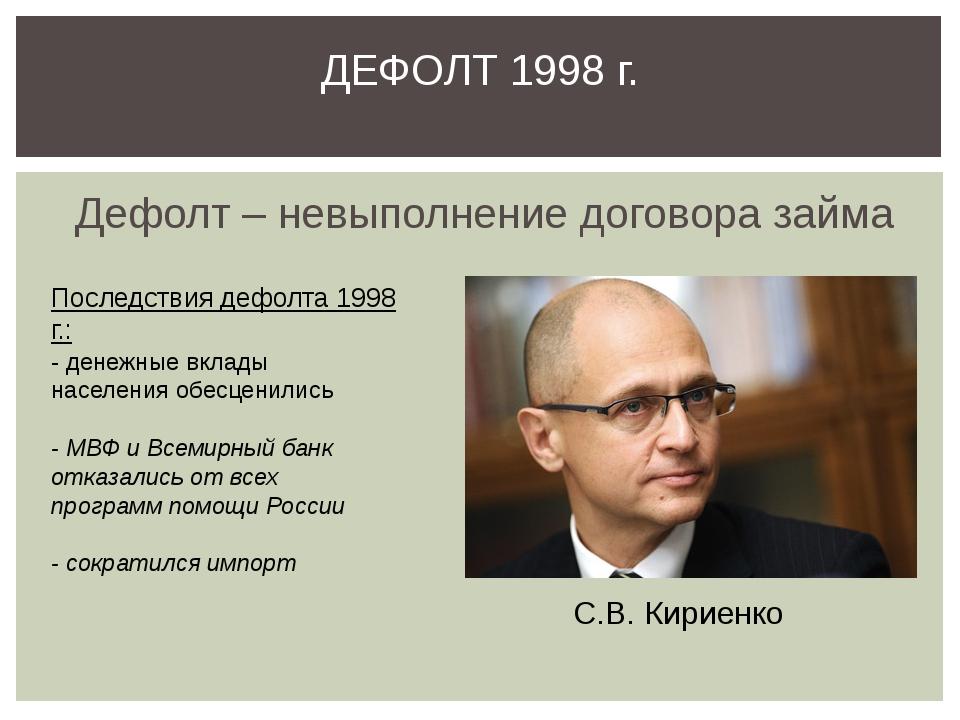 Дефолт – невыполнение договора займа ДЕФОЛТ 1998 г. С.В. Кириенко Последствия...