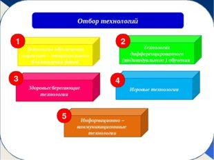 Отбор технологий Игровые технологии Технология дифференцированного (индивиду