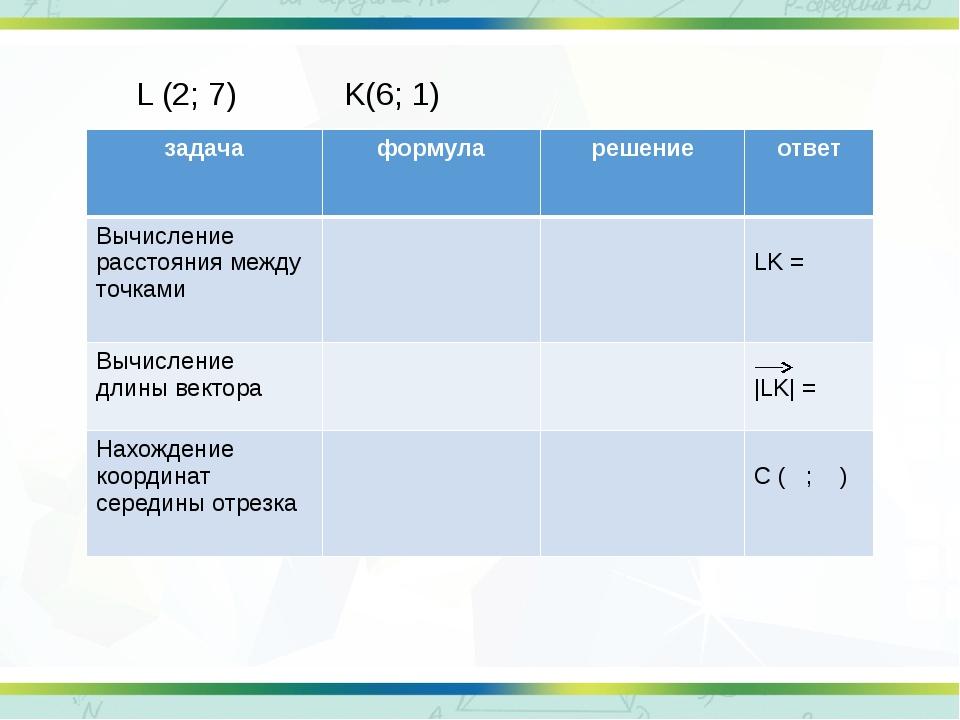 L (2; 7) K(6; 1) задача формула решение ответ Вычисление расстояния между точ...