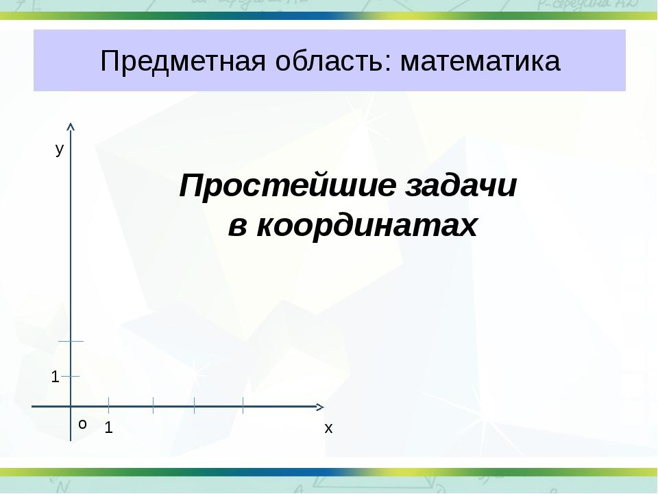 Предметная область: математика Простейшие задачи в координатах х у о 1 1