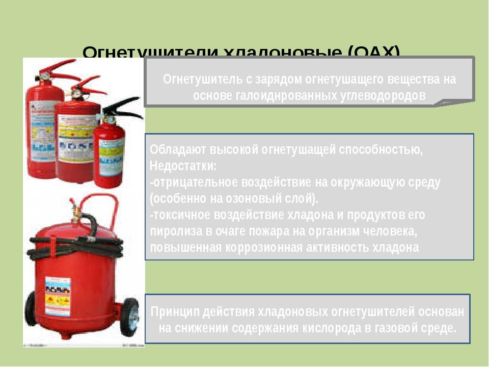 Огнетушители хладоновые (ОАХ) Огнетушитель с зарядом огнетушащего вещества н...