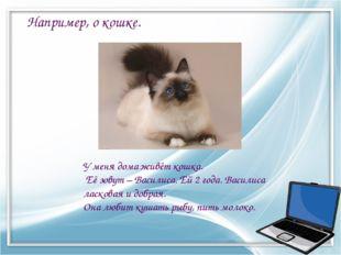 У меня дома живёт кошка. Её зовут – Василиса. Ей 2 года. Василиса ласковая и