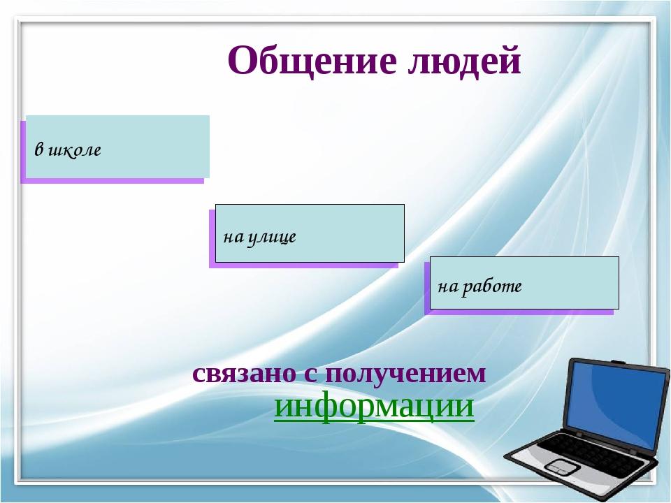 Общение людей связано с получением информации в школе на улице на работе