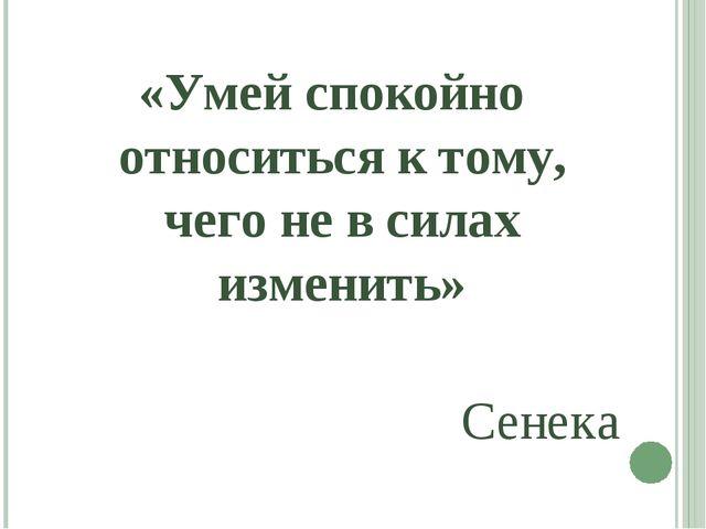 «Умей спокойно относиться к тому, чего не в силах изменить» Сенека