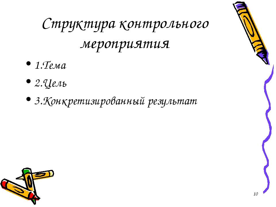 Структура контрольного мероприятия 1.Тема 2.Цель 3.Конкретизированный результ...