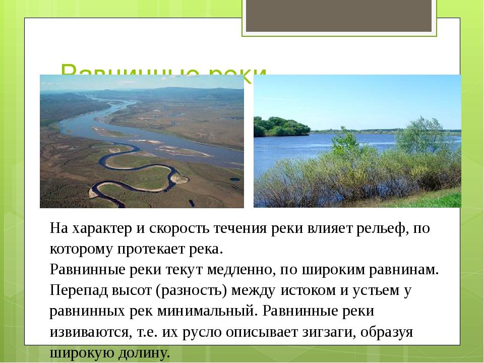 Равнинные реки. На характер и скорость течения реки влияет рельеф, по котором...