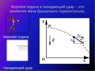 Верхняя подача и нападающий удар – это движение мяча брошенного горизонтально