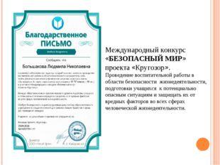 Международный конкурс «БЕЗОПАСНЫЙ МИР» проекта «Кругозор». Проведение воспита