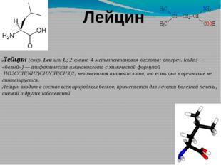 Лейцин Лейцин(сокр.LeuилиL; 2-амино-4-метилпентановая кислота; отгреч.l
