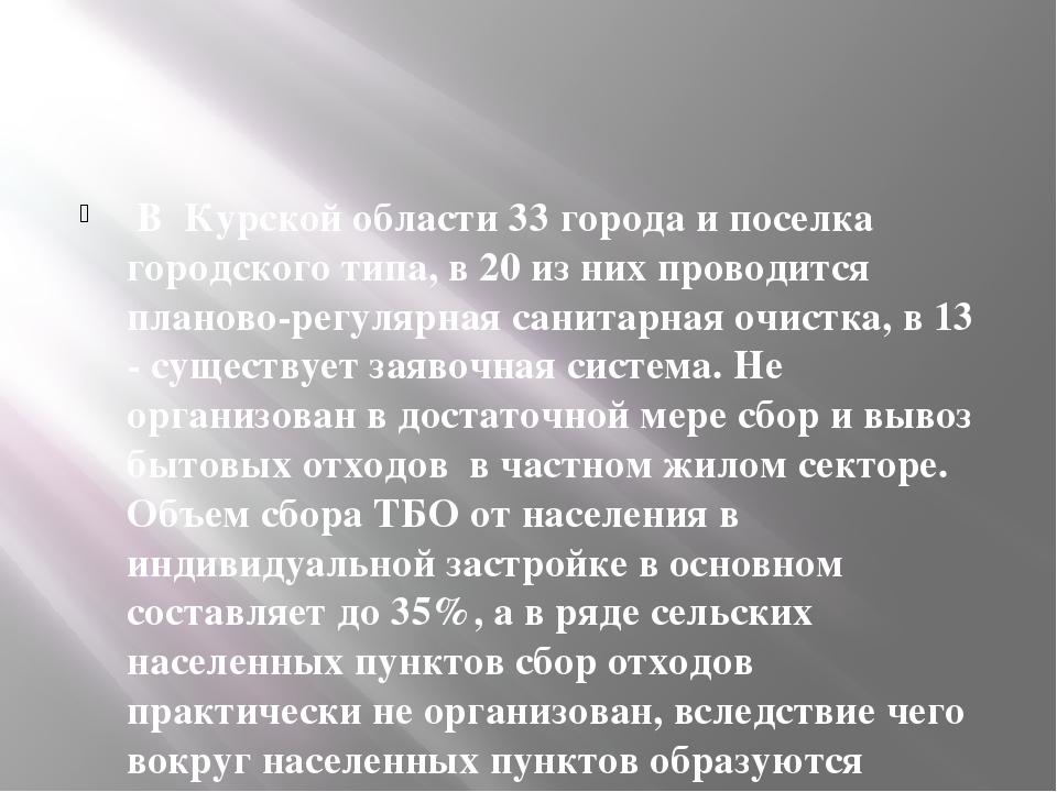 В Курской области 33 города и поселка городского типа, в 20 из них проводитс...