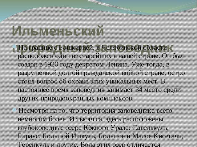 Ильменьский природный заповедник На границе с Башкирией, в Челябинской област...
