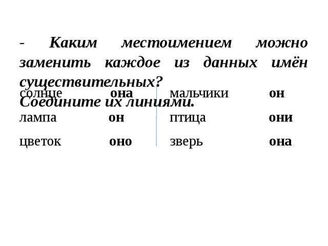 - Каким местоимением можно заменить каждое из данных имён существительных? С...