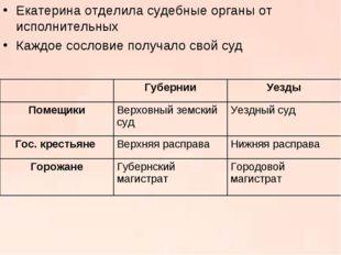Екатерина отделила судебные органы от исполнительных Каждое сословие получало