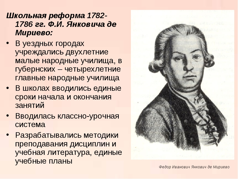 Школьная реформа 1782-1786 гг. Ф.И. Янковича де Мириево: В уездных городах уч...