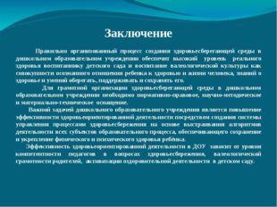 Заключение Правильно организованный процесс создания здоровьесберегающей сре