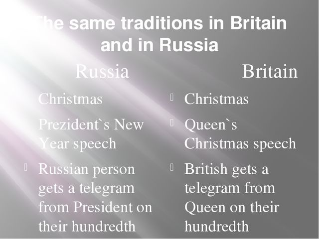 The same traditions in Britain and in Russia Russia Christmas Prezident`s New...
