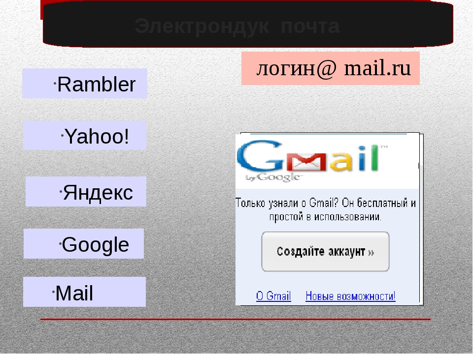 Электрондук почта Mail Rambler Google Яндекс Yahoo! логин @ mail.ru
