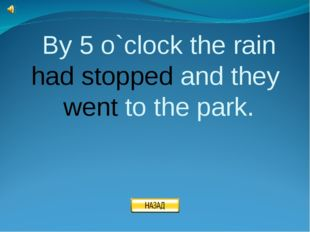 By 5 o`clock the rain had stopped and they went to the park.