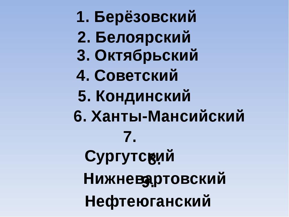 1. Берёзовский 2. Белоярский 3. Октябрьский 4. Советский 5. Кондинский 6. Хан...